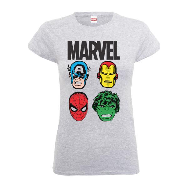 Marvel Comics Main Character Faces Women's Grey T-Shirt