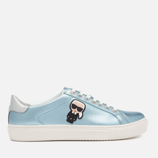 Karl Lagerfeld Women's Kupsole Karl Ikonik Leather Lo Lace Trainers - Silver/Blue