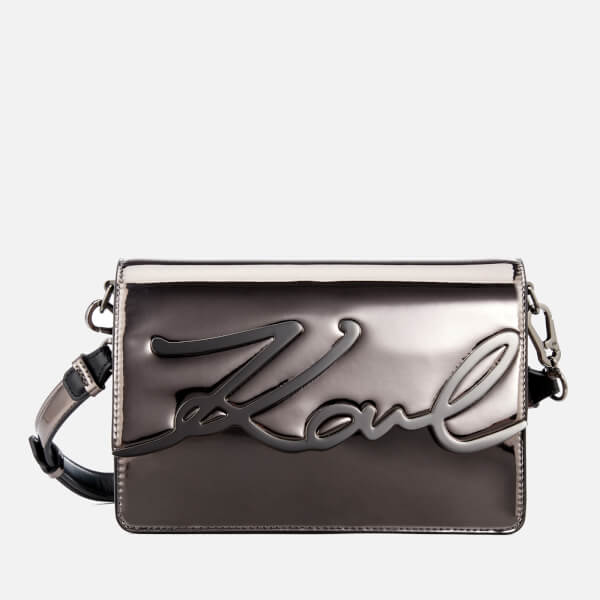 Karl Lagerfeld Women s K Signature Gloss Shoulder Bag - Nickel  Image 1 c9a9f30c81173