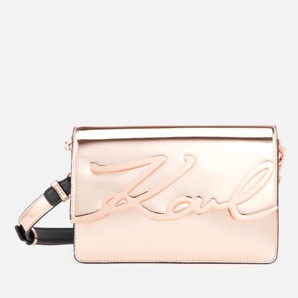 Karl Lagerfeld Women's K/Signature Gloss Shoulder Bag - Rose Gold