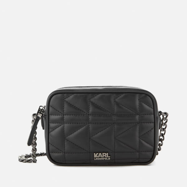 Karl Lagerfeld Women's K/Kuilted Cross Body Bag - Black/Gun metal