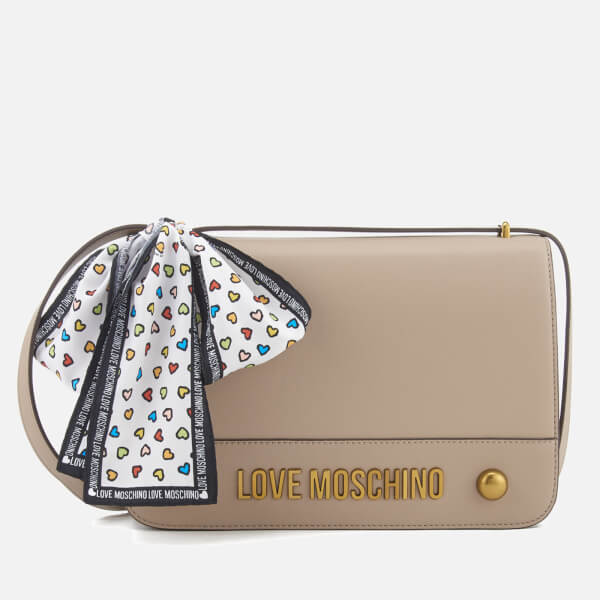 Love Moschino Women's Logo Chain Shoulder Bag - Taupe