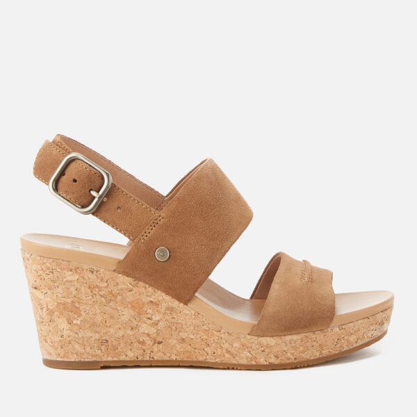 UGG Women's Elena II Double Strap Wedged Sandals - Chestnut