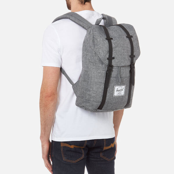a1649df3386e Herschel Supply Co. Men s Retreat Backpack - Raven Crosshatch Black Rubber   Image 3