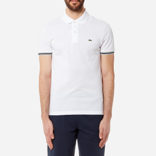 a71e233288 Lacoste Men's Sleeve Tip Polo Shirt - Blanc - Free UK Delivery over £50