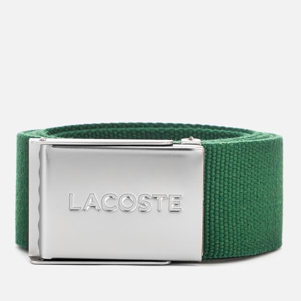 Lacoste Men's Textile Signature Croc Logo Belt - Green