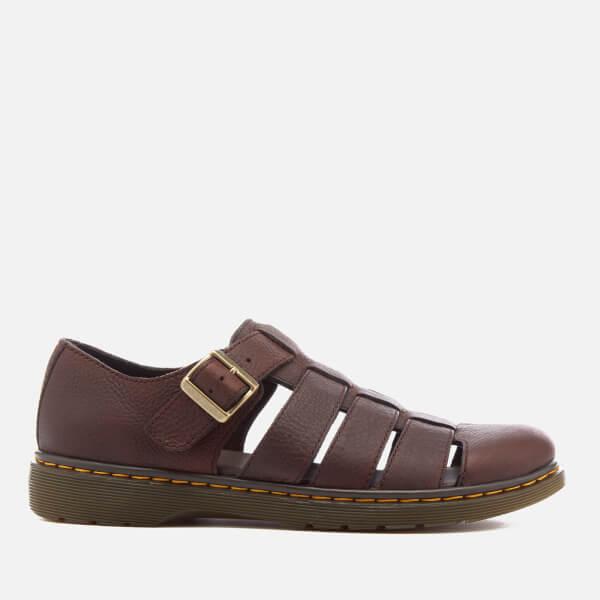 Dr. Martens Men's Fenton Grizzly Leather Fisherman Sandals - Dark Brown