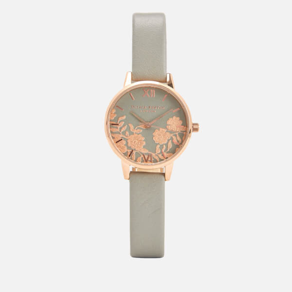 Olivia Burton Women's Lace Detail Watch - Grey/Rose Gold