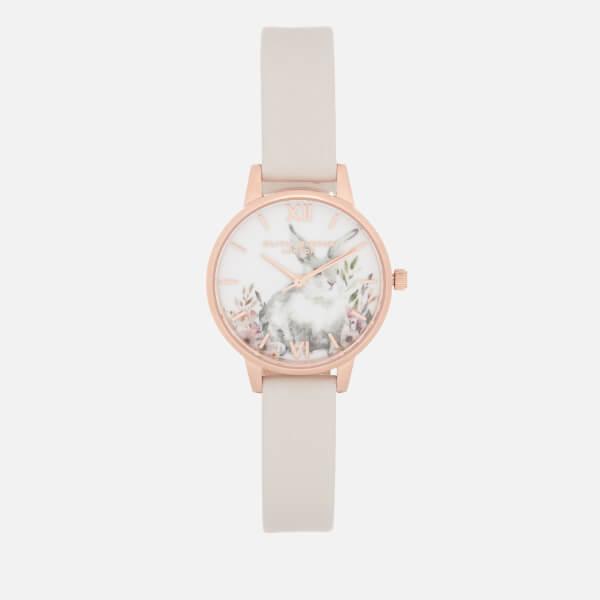 Olivia Burton Women's Illustrated Animals Bunny Watch - Blush & Rose Gold