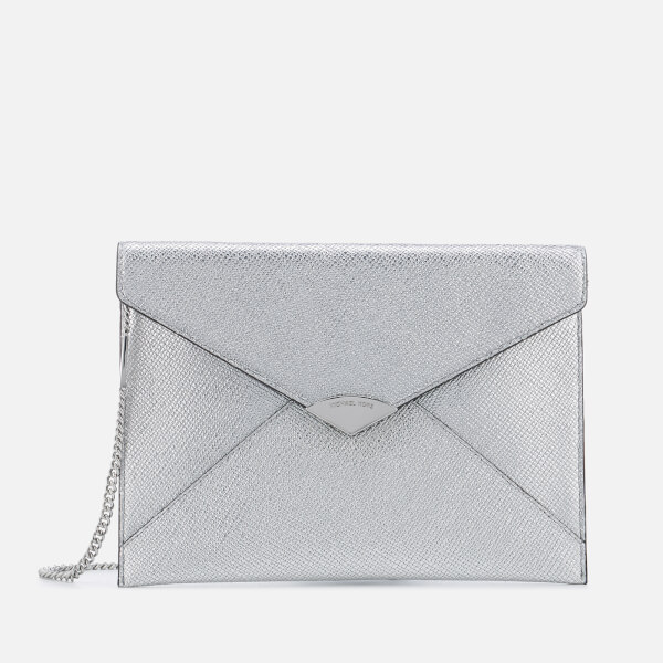 MICHAEL MICHAEL KORS Women s Large Soft Envelope Clutch Bag - Silver  Image  1 6c4fdc371f3e5