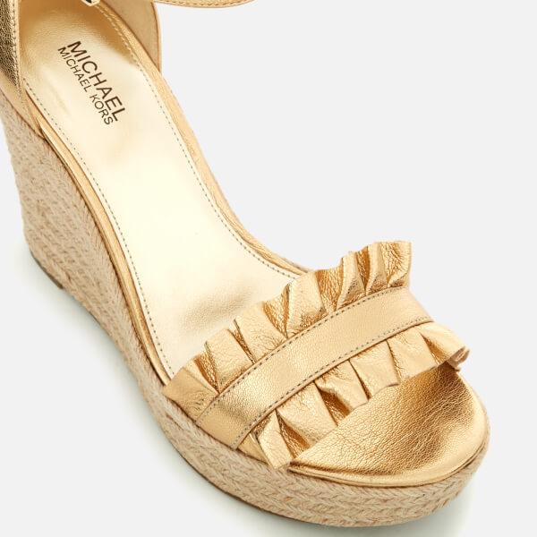 1959a52d002 MICHAEL MICHAEL KORS Women s Bella Metallic Leather Wedged Sandals - Pale  Gold  Image 4