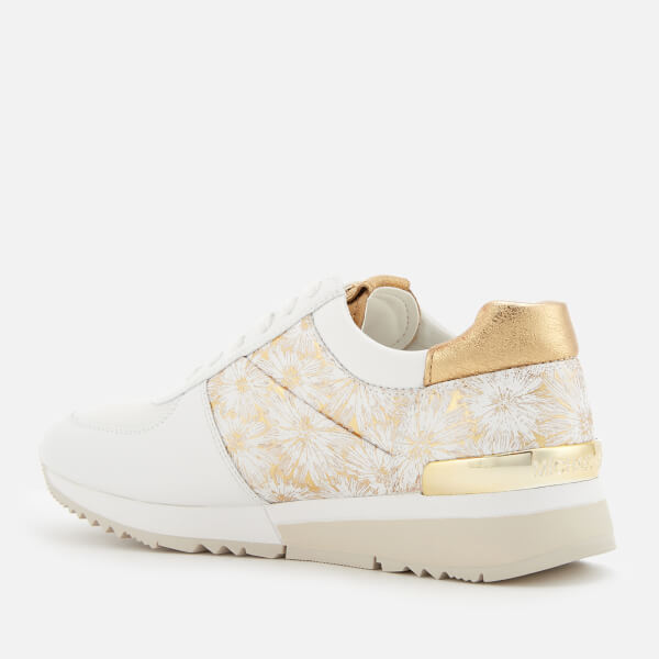 9288ac5727ff MICHAEL MICHAEL KORS Women s Allie Metallic Flower Trainers - Optic White Gold   Image 2