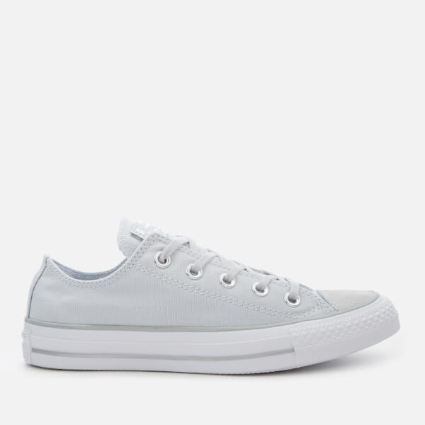 59b68e40cd37 Converse Women s Chuck Taylor All Star Ox Trainers - Pure  Platinum Silver White