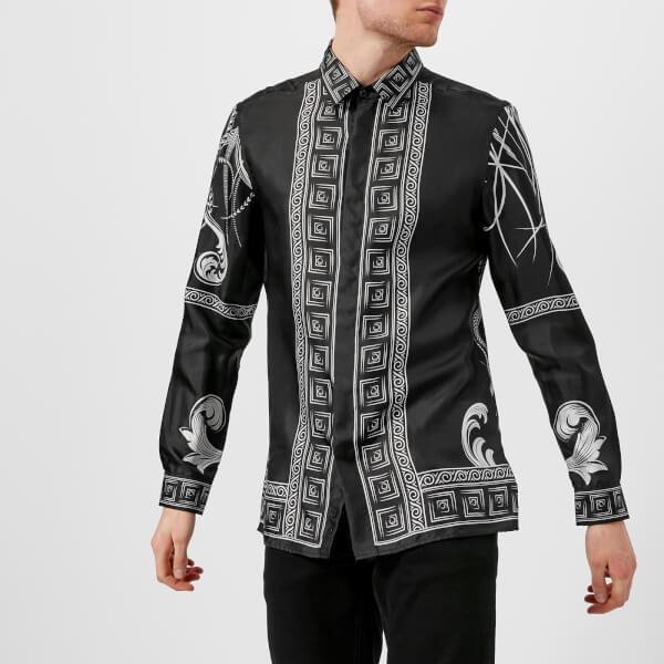 a41e23c32461 Versace Collection Men s Printed Silk Shirt - Nero Stampa Mens ...