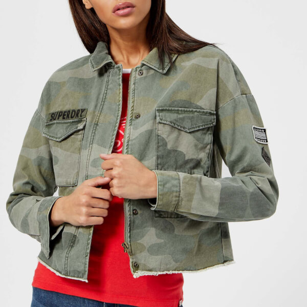 017ab16c59ee Superdry Women s Crop Utility Jacket - Washed Camo Womens Clothing ...