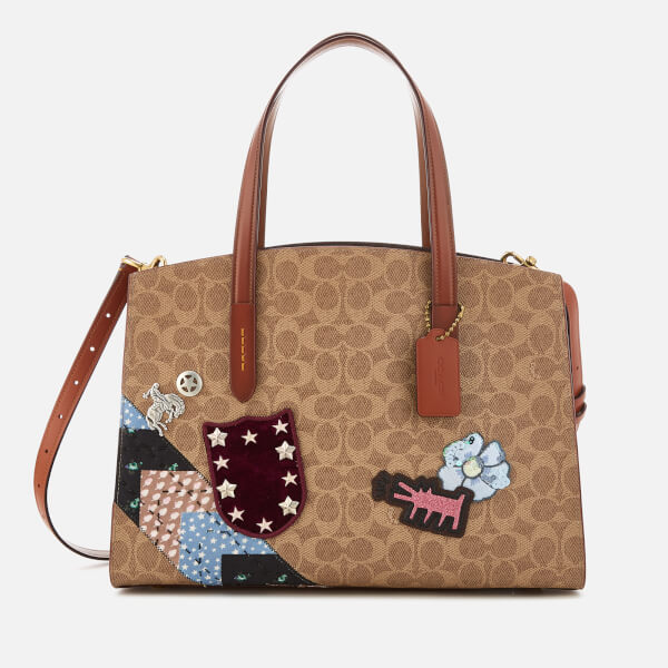 Tote - Coated Canvas Signature Charlie Carryall Rust - brown, beige - Tote for ladies Coach