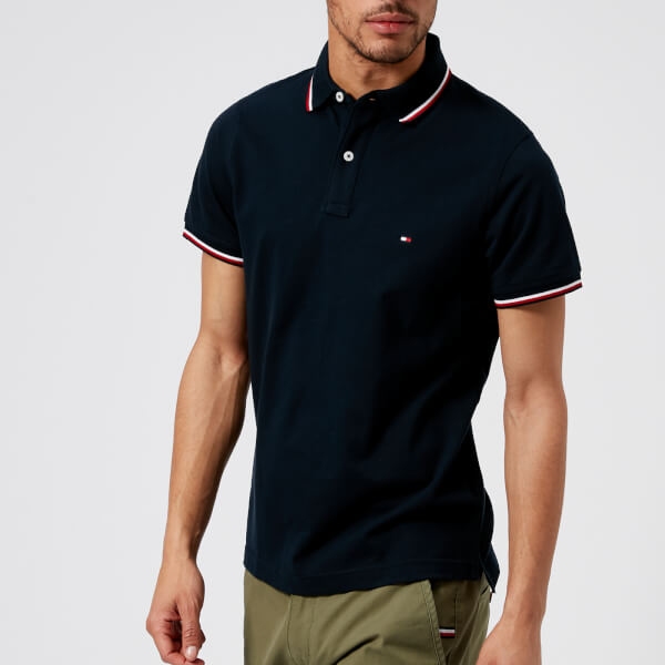 Tommy Hilfiger Men s Tommy Tipped Slim Polo Shirt - Sky Captain  Image 1 706d9468bced4