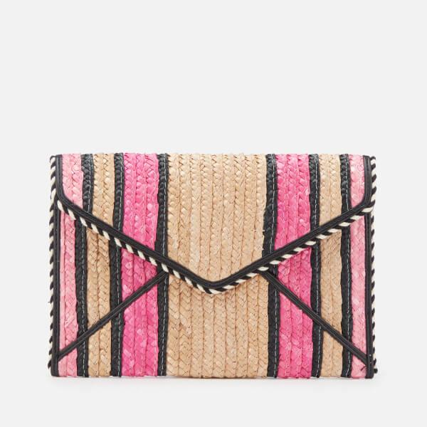Rebecca Minkoff Women's Straw Leo Clutch - Pink Multi