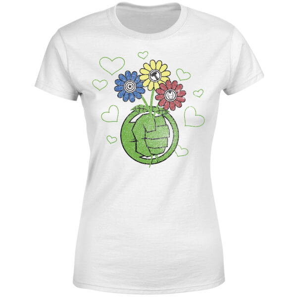 Marvel Avengers Hulk Flower Fist Women's T-Shirt - White