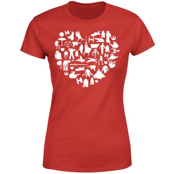 Star Wars Valentine's Heart Montage Women's T-Shirt - Red