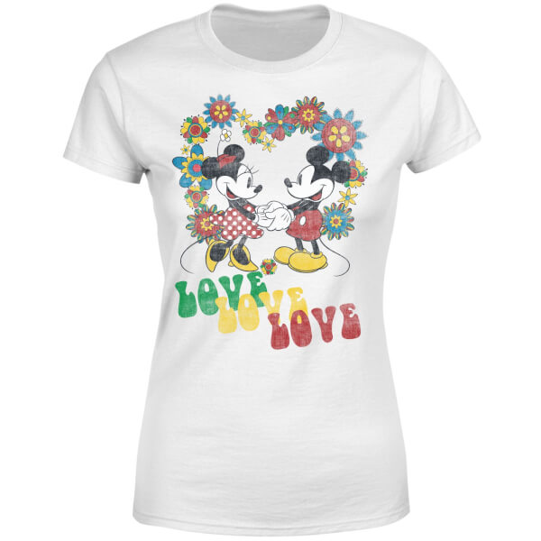Disney Mickey Mouse Hippie Love Women's T-Shirt - White