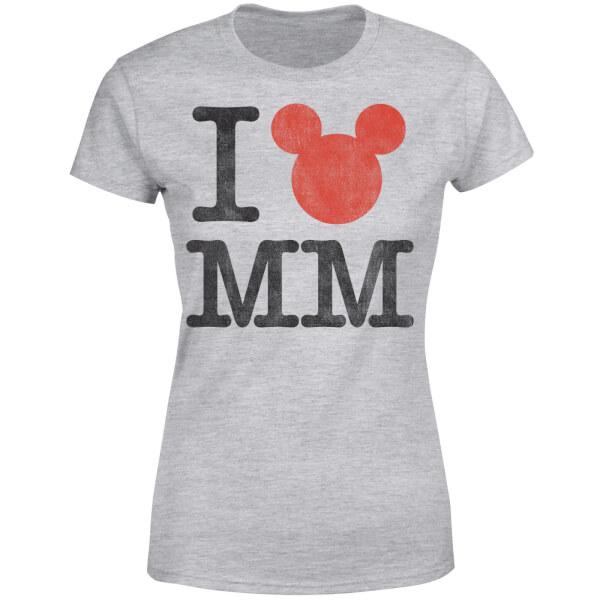 Disney Mickey Mouse I Heart MM Women's T-Shirt - Grey