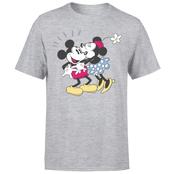 Disney Mickey Mouse Minnie Kiss T-Shirt - Grey