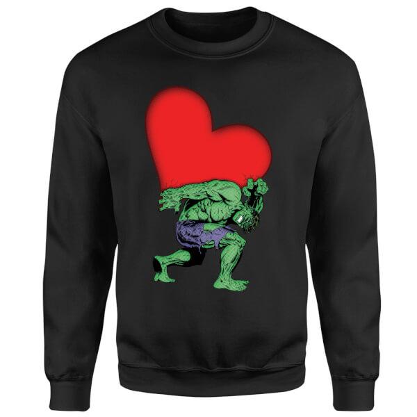 Marvel Comics Hulk Heart Sweatshirt - Black
