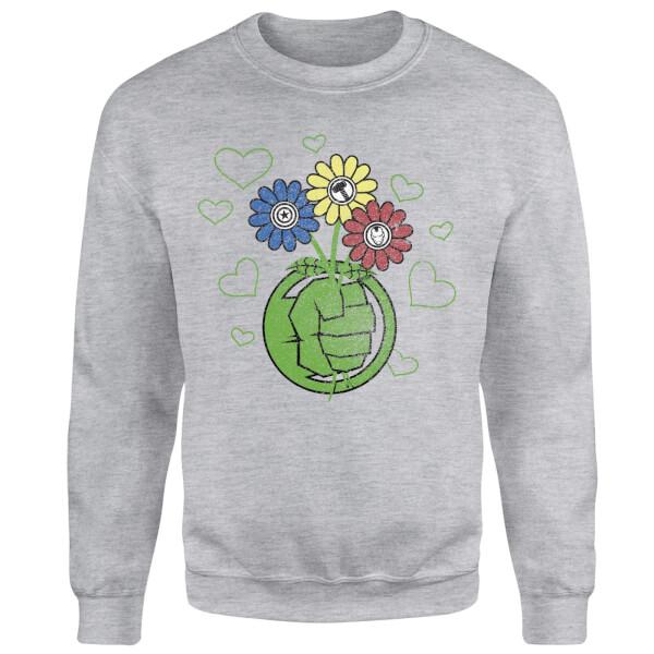 Marvel Avengers Hulk Flower Sweatshirt - Grey