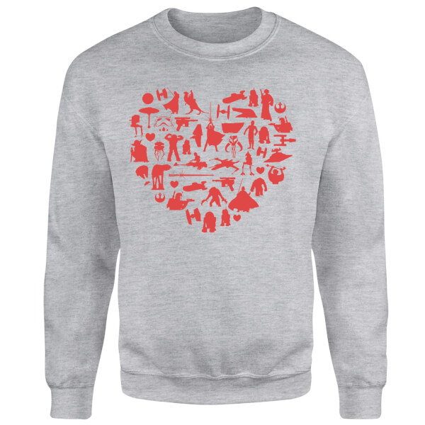 Star Wars Valentine's Heart Montage Sweatshirt - Grey