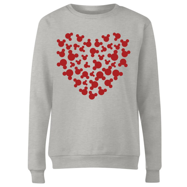 Disney Mickey Mouse Heart Silhouette Women's Sweatshirt - Grey