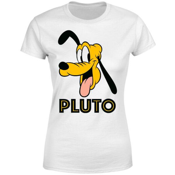 Disney Mickey Mouse Pluto Face Women's T-Shirt - White