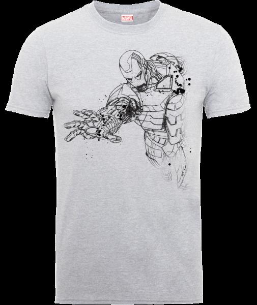 Marvel Avengers Assemble Iron Man Mono Sketch T-Shirt - Grey
