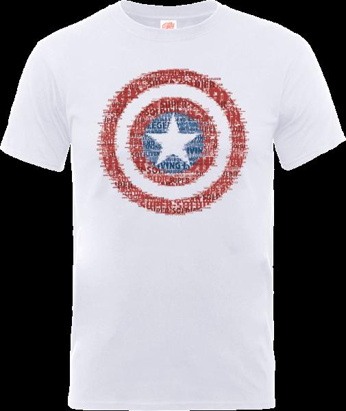 Marvel Avengers Assemble Captain America Art Shield Badge T-Shirt - White