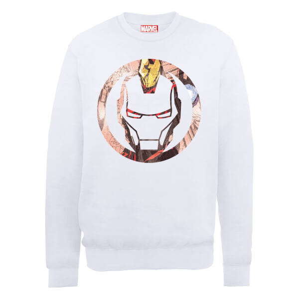 Marvel Avengers Assemble Iron Man Montage Sweatshirt - White