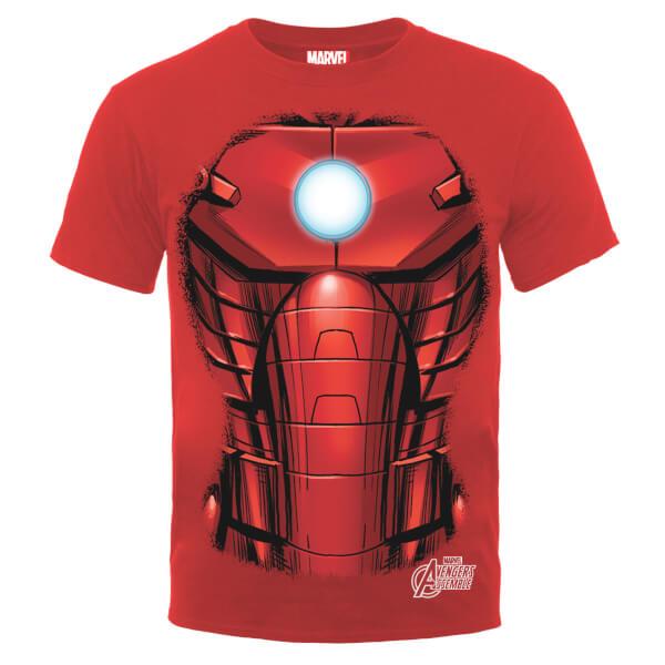 Marvel Avengers Assemble Iron Man Chest Burst T-Shirt - Red