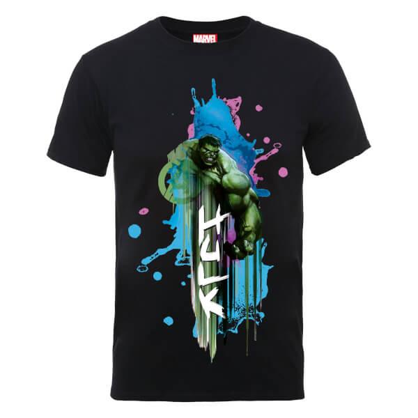 Marvel Avengers Assemble Hulk Art Burst T-Shirt - Black