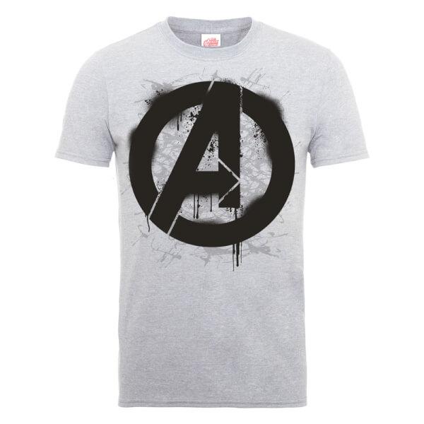 Marvel Avengers Assemble Logo Stencil T-Shirt - Grey