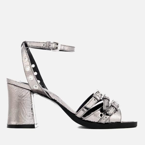 McQ Alexander McQueen Women's Angel Eyelet Heel Sandals - Silver: Image 1