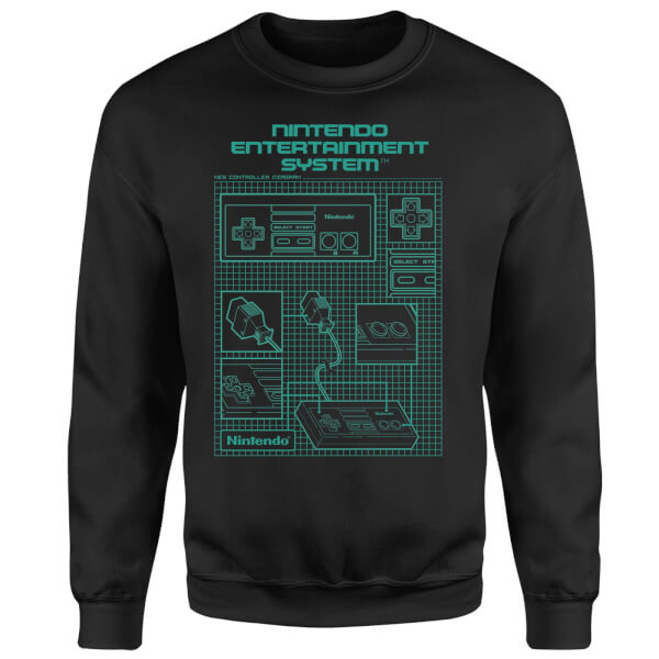 NES Controller Blueprint Black Sweatshirt - Black