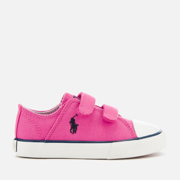 Polo Ralph Lauren Toddlers' Darian EZ Canvas Velcro Trainers - Baja Pink/Navy