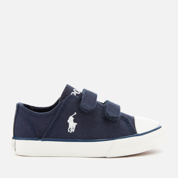 Polo Ralph Lauren Toddlers' Darian EZ Canvas Velcro Trainers - Navy/White