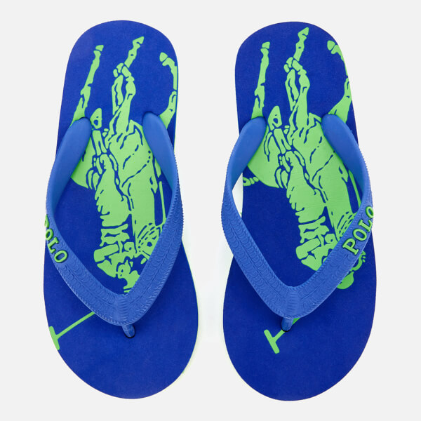 Polo Ralph Lauren Kids' Landry Flip Flops - Royal Heringbone/Lime