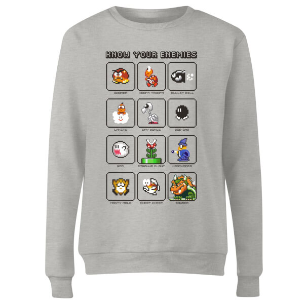 Nintendo Know Your Enemies Women's Sweatshirt - Grey