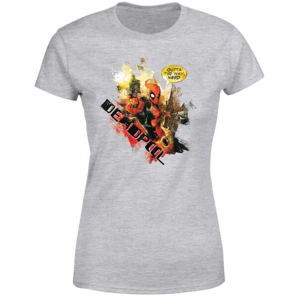 Marvel Deadpool Outta The Way Nerd Women's T-Shirt - Grey