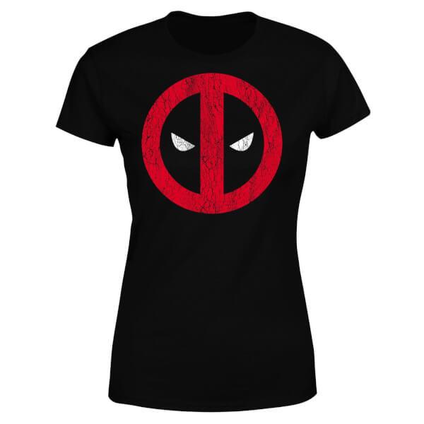 Marvel Deadpool Cracked Logo Women's T-Shirt - Black