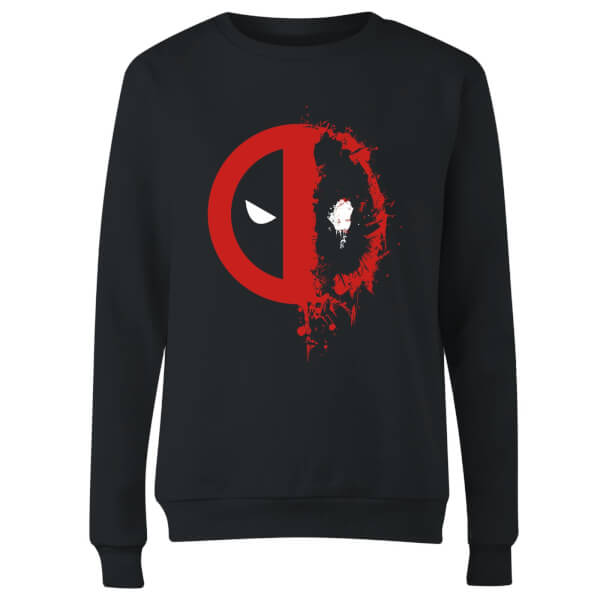 Marvel Deadpool Split Splat Logo Women's Sweatshirt - Black