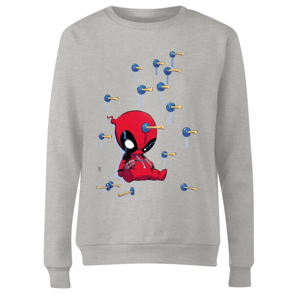 Marvel Deadpool Cartoon Knockout Women's Sweatshirt - Grey