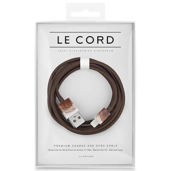 Le Cord Braided Marble Effect Charging Cable - Aquarelle Brown - 1.2m