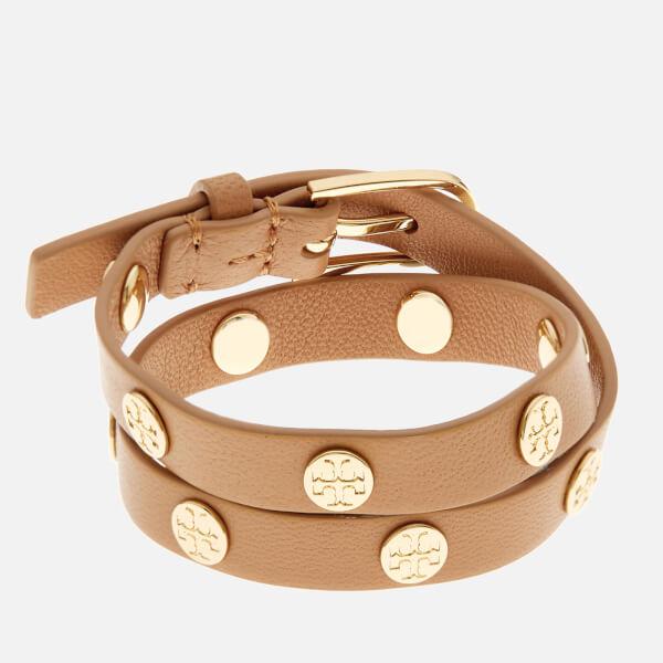 Tory Burch Women's Double Wrap Logo Stud Bracelet - Aged Vachetta/Gold